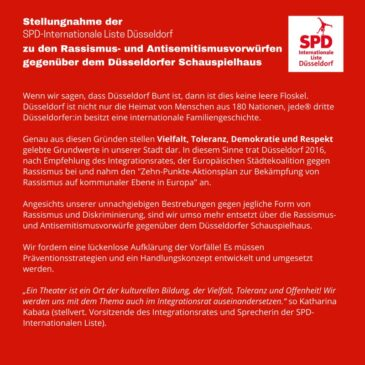 Stellungnahme der SPD-Internationalen Liste zu den Rassismus- und Antisemitismusvorwürfen gegenüber dem Schauspielhaus